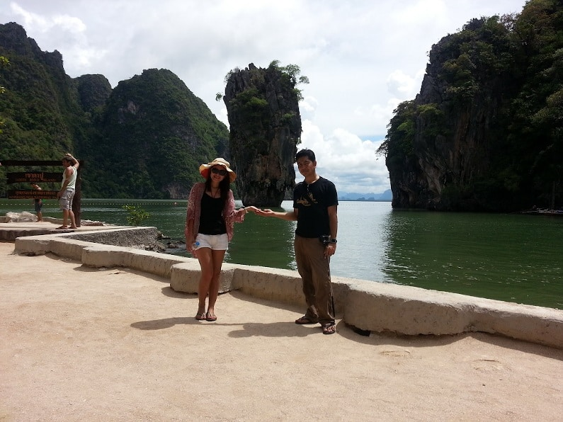 A couple visiting James Bond Island