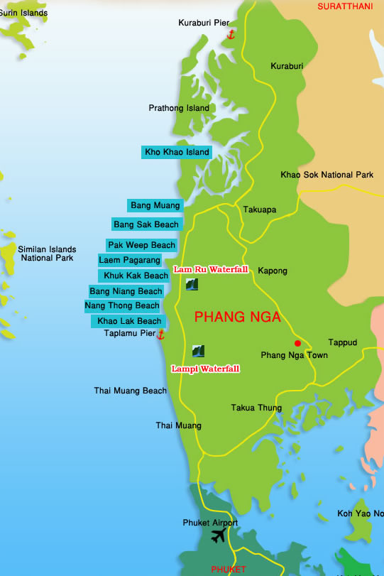 Khao Lak Map Easy Day Thailand Tours Travel
