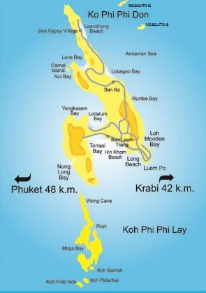Map of Koh Phi Phi Island Easy Day Thailand Tours Travel