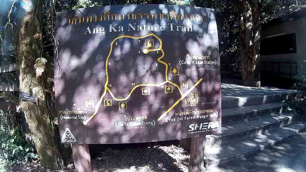 Chiang Mai, Doi Inthanon - Ang Ka nature Trail Sign