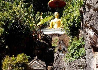 chiang mai,chiang dao cave-golden buddha in garden