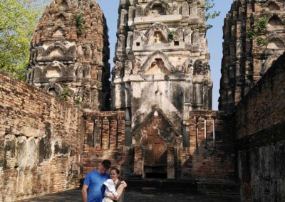 sukhothai - historical park - family at the khmer temple