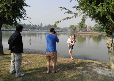 sukhothai - historical park - family at the lake