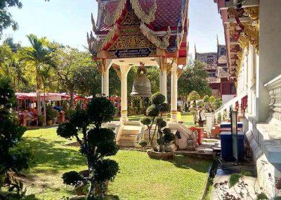 chiang mai, wat phra singh - garden side view