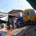Train passing Maeklong Railway Market