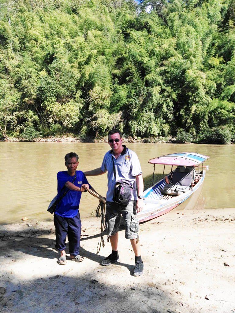 chiang mai, Mae Kok river - Longtail Boat Captain at the Lahu Village
