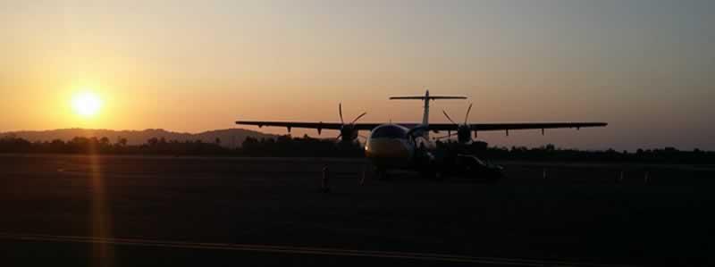 Plane landing at Ranong Airport, Thailand