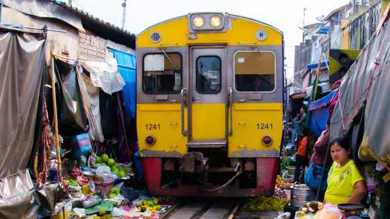Maeklong Railway Market Bangkok Thailand